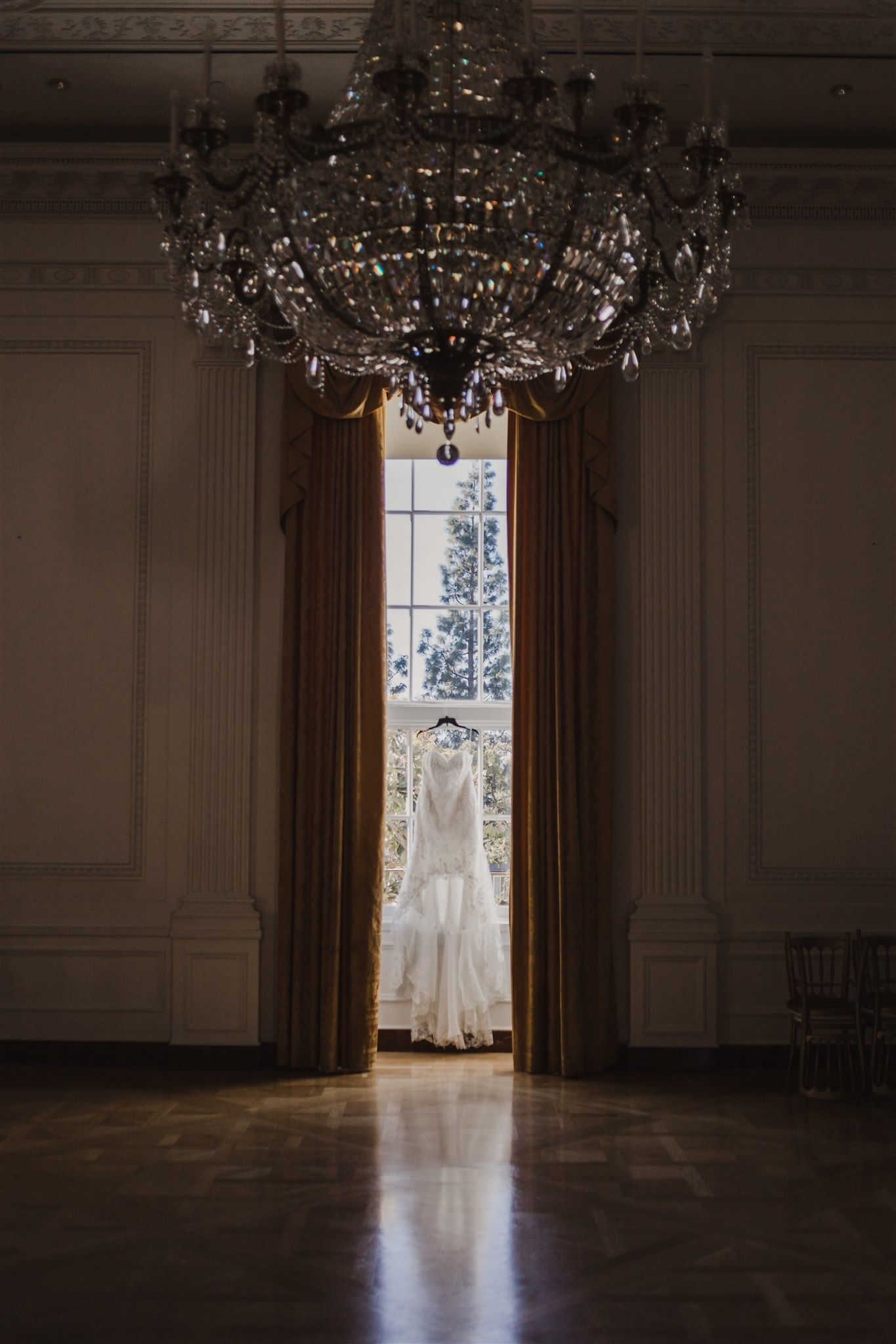 Wedding dress hung at Nixon Library