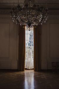 Wedding dress hung at Nixon Library